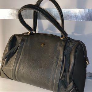 Ora Delphine Gray Leather Satchel Handbag